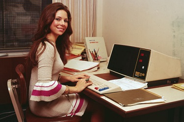 1970s Office Worker with Computer