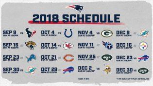 New England Patriots 2018 Regular Season Schedule
