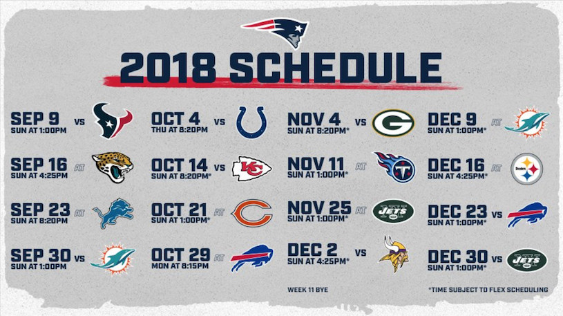 New England Patriots 2018 Regular Season Schedule