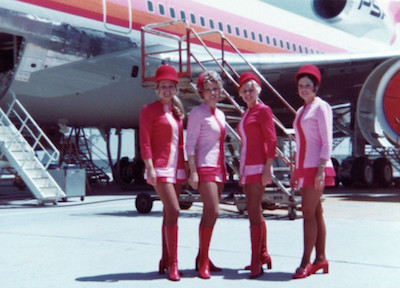 PSA Flight Attendants by Plane