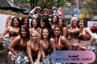 Cleveland Browns Cheerleaders in a Parking Lot