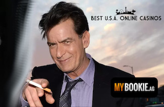 Charlie Sheen Smoking and Pointing