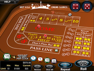 Ignition Casino Craps Table