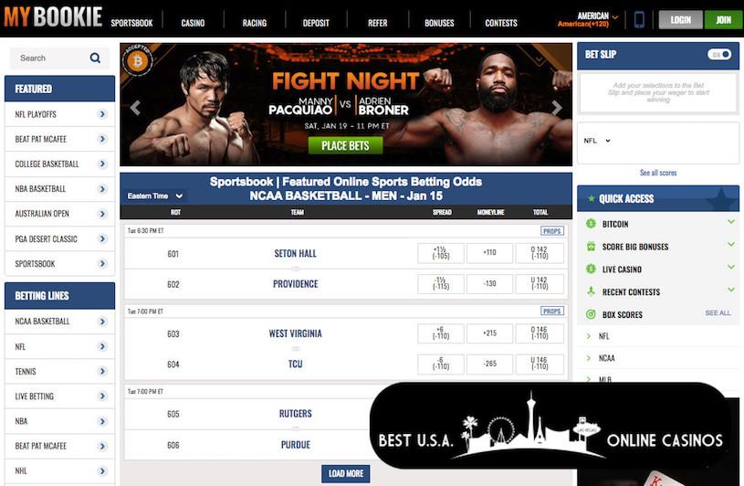 Screenshot of MyBookie Sportsbook Lines