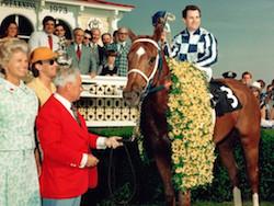 Secretariat in Winner's Circle at the 1973 Belmont Classic
