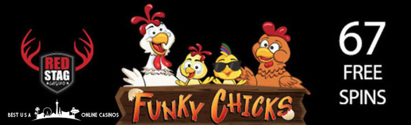 67 Free Spins for Funky Chicks Slots at Red Stag Casino