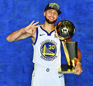 Steph Curry Posing with NBA Trophy