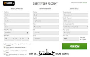 MyBookie Casino Join Form