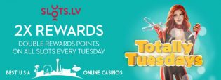 Tuesday Double Reward Points at Slots.lv