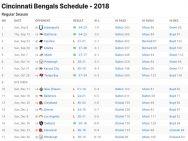 Cincinnati Bengals Results 2018