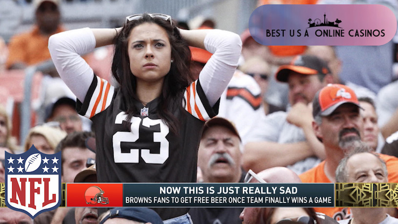 Sad Female Cleveland Browns fan in Crowd