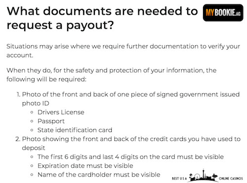 MyBookie Credit Card Payout Documents
