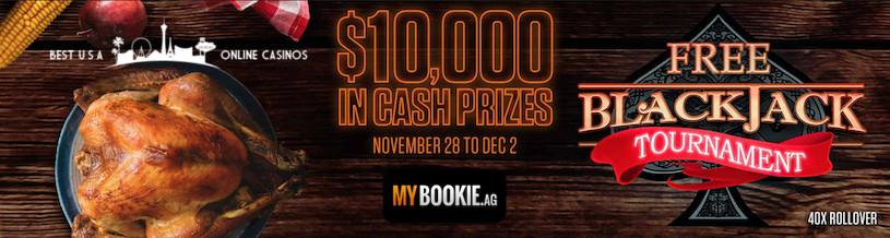 MyBookie Free Blackjack Tournament for Thanksgiving 2019