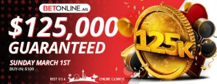 BetOnline Poker $125,000 Guaranteed Tournament for Mach 1st 2020