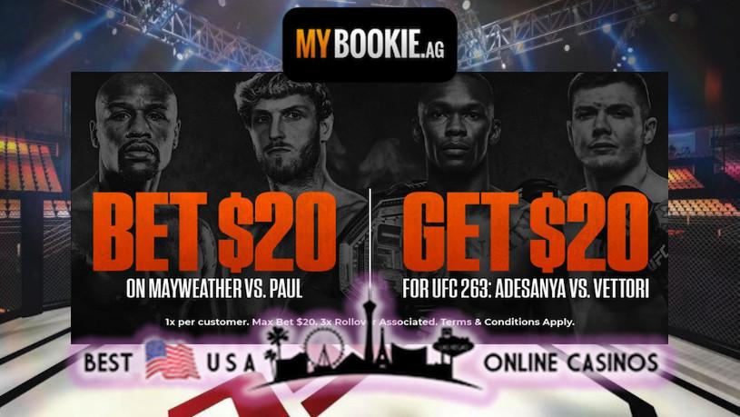 Bet on Floyd Mayweather vs. Logan Paul MyBookie UFC 263 Promotion