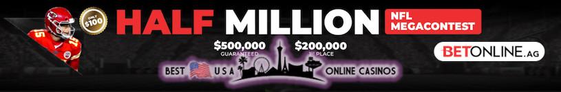 $500,000 NFL 2021 Mega Contest at BetOnline Sportsbook