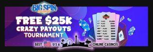 BigSpinCasino Free $25,000 Crazy Payouts Blackjack Tournament