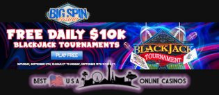 BigSpinCasino Free Daily $10k Blackjack Tournaments Running for September